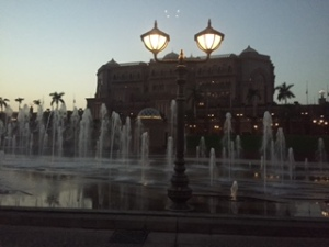 Dusk, the fountains and the hotel